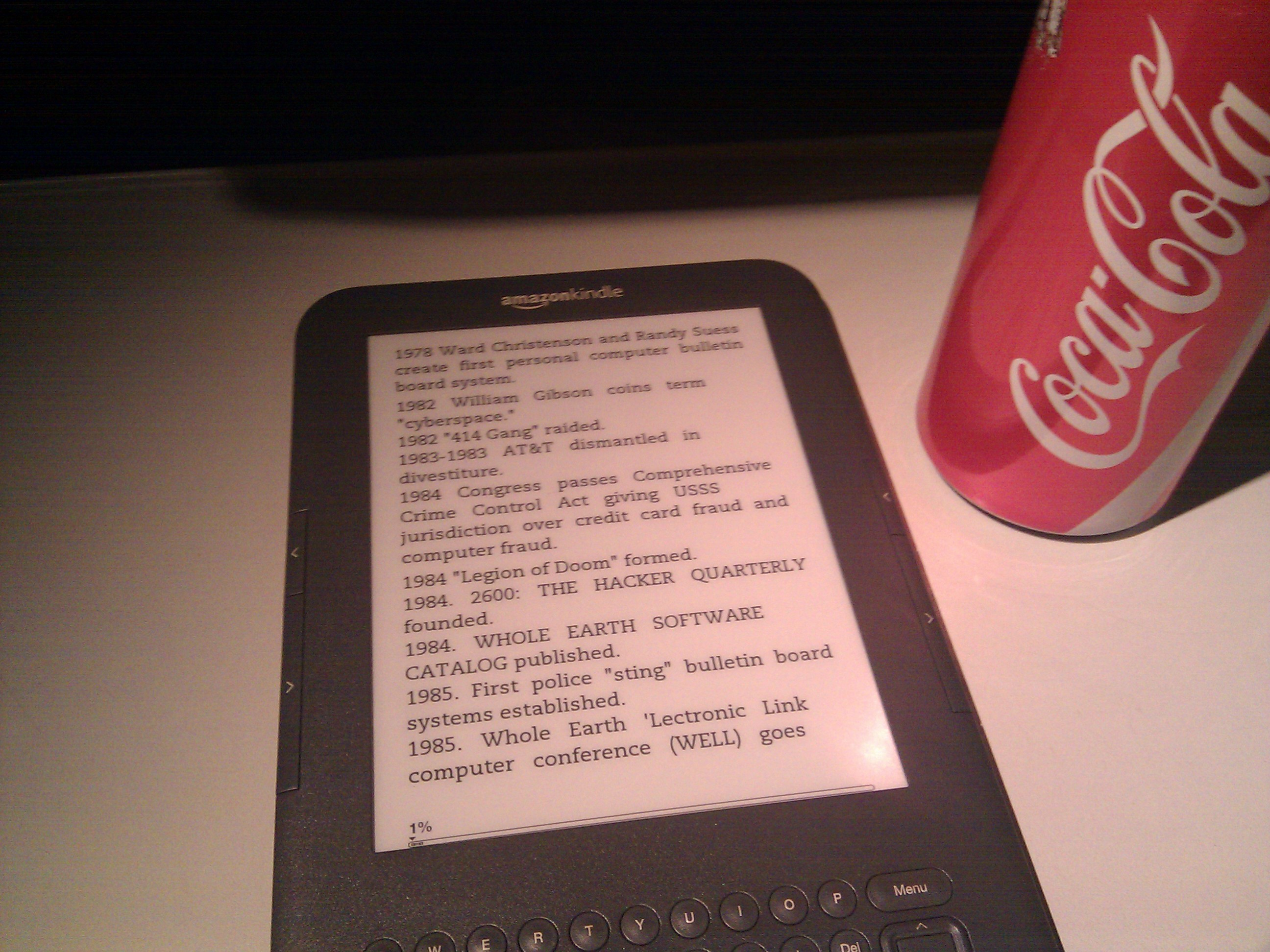Kindle compared to coke bottle