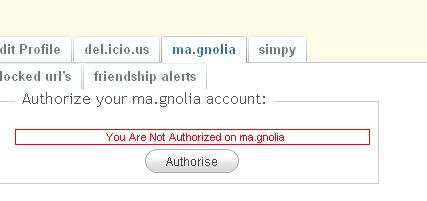 Authorize ma.gnolia
